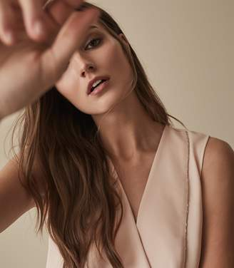 Reiss Our last order date for Christmas has now passed CHARLOTTE EMBELLISHED V-NECK TOP Pale Pink