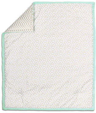 The Peanut Shell Confetti Cotton Quilt in Mint/Gold