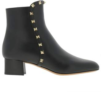 Valentino Garavani Heeled Booties Rockstud Ankle Boot In Genuine Smooth Leather With Metal Studs