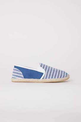 H&M Cotton Canvas Espadrilles - Blue/white striped - Kids