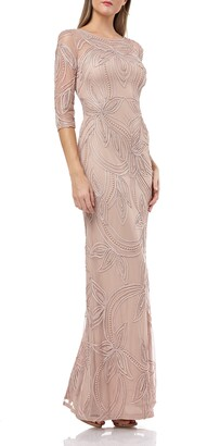 JS Collections Pearl Beaded Soutache Column Gown