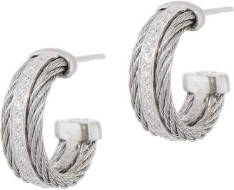 Alor Cable Stainless Steel & Diamond Hoop Earrings