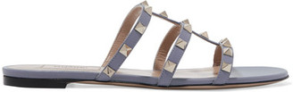 Valentino - The Rockstud Leather Sandals - Blue $675 thestylecure.com