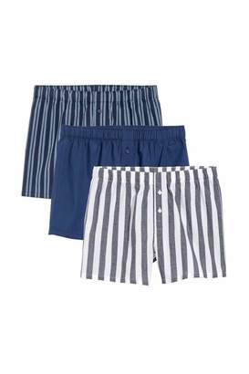 H&M 3-pack Woven Boxer Shorts - Dark blue/striped - Men