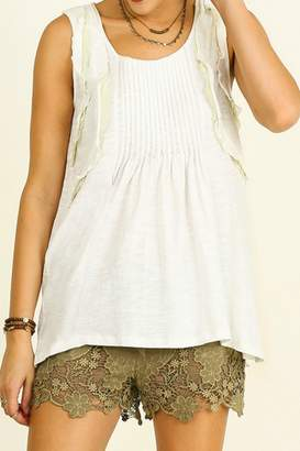 Umgee USA Sleeveless Ruffled Top