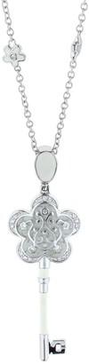 Ralph Lauren G. Adams G Adams Silvertone Floral Key Enamel Pendant with Chain