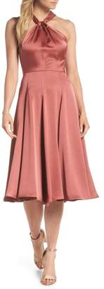 Gal Meets Glam Jaqueline Twist Front Halter Neck Satin Dress