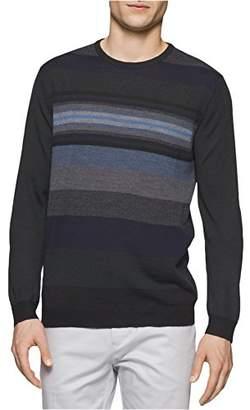 Calvin Klein Men's Merino Pop Stripe Crew Neck Sweater