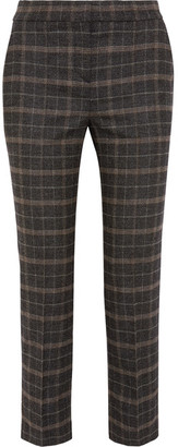 Cropped Checked Stretch-felt Slim-leg Pants - Brown