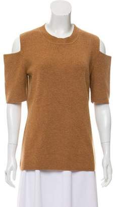 Intermix Cold-Shoulder Wool Sweater