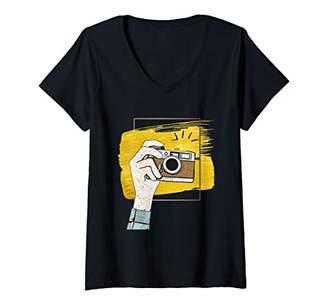 Womens Funny photography vintage Camera Photographer V-Neck T-Shirt