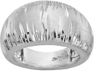 Italian Silver Domed Diamond Cut Ring