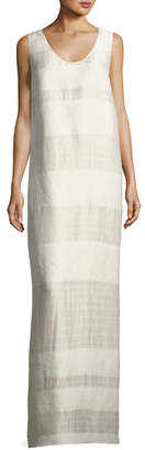 The Row Yellin Sleeveless Textured Stripe Linen-Silk Maxi Dress, Light Beige