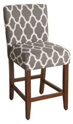 """HomePop Geo Brights Warm Gray Upholstered Barstool 24"""" counter height"""