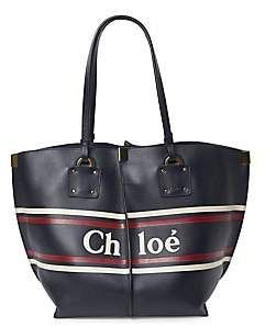 Chloé Women's Medium Vick Logo & Stripes Leather Tote