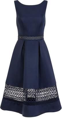 Dorothy Perkins Womens *Chi Chi London Navy Crochet Detail Midi Skater Dress