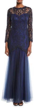 Tadashi Shoji Corded Lace Gown w/ Tulle Skirt