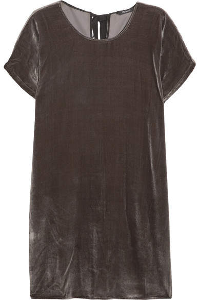 Madewell - Velvet Mini Dress - Gray
