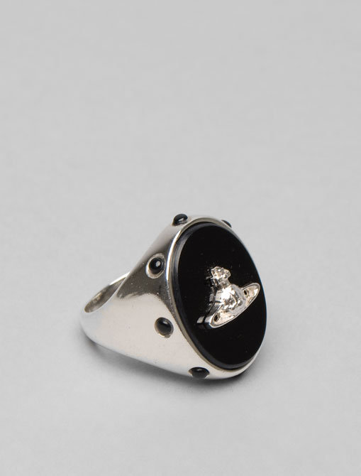 Vivienne Westwood Anglomania Black Oval Ring