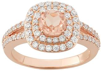 Kohl's Peach Quartz Doublet & Cubic Zirconia 18k Rose Gold Over Silver Halo Ring