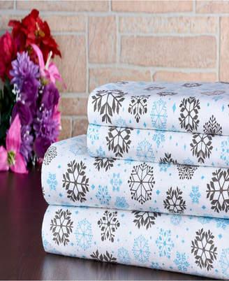 Bibb Home 100% Cotton Flannel Printed Queen Sheet Set Bedding
