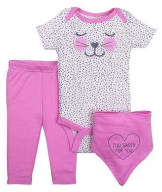 Little Star Organic Newborn Baby Girl Bodysuit, Pant, & Bandana Bib 3pc Outfit Set