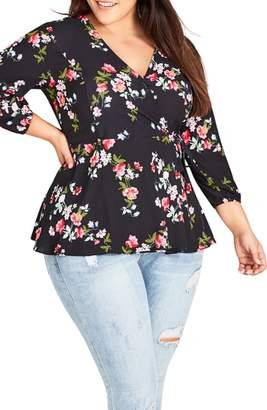 City Chic Kew Garden Faux Wrap Top