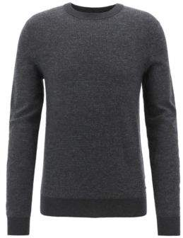 BOSS Hugo Float-jacquard sweater in a lightweight cotton L Black