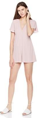 Plumberry Women's Sexy V-Neck Summer Solid Elegant Ruffles Short Sleeve Romper Jumpsuits Shorts