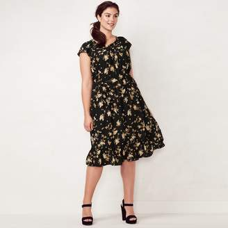 Lauren Conrad Plus Size Print Fit & Flare Midi Dress