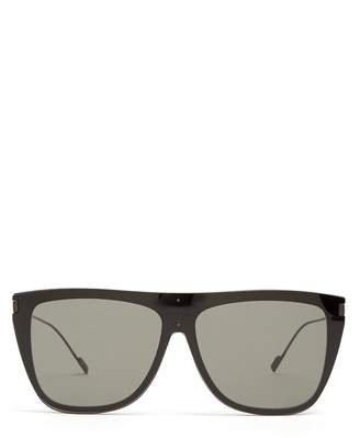 Saint Laurent D Frame Acetate Sunglasses - Mens - Black