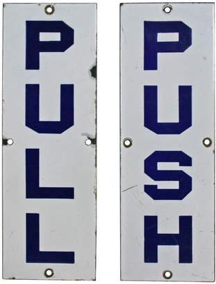 Rejuvenation Rare Blue and White Enamel Push Pull Entry Signs