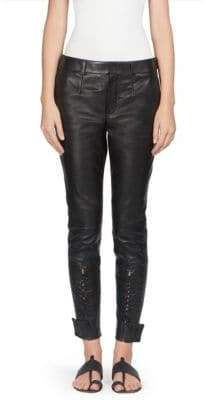 Saint Laurent Leather Lace-Up Pants