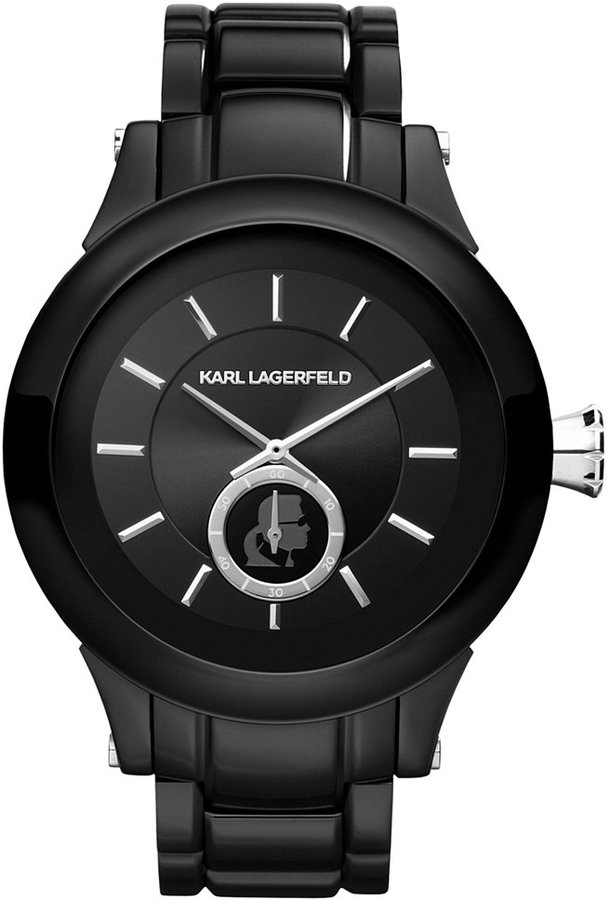 Karl Lagerfeld Watch, Women's Silver and Black Ion-Plated Stainless Steel Bracelet 45mm KL1205