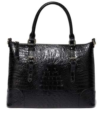 Vicenzo Leather Marvee Croc Embossed Leather Tote Bag