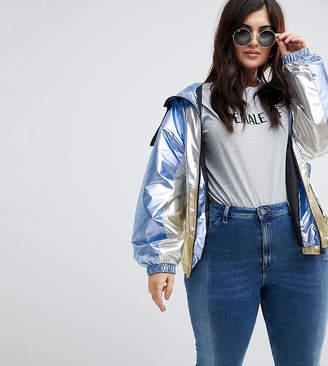 Asos DESIGN Curve metallic panel rain jacket