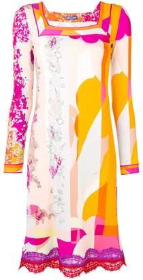 Emilio Pucci lace appliqués longsleeved dress