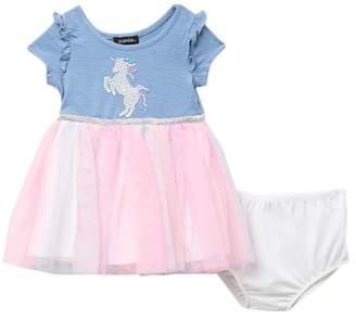 Zunie Short Sleeve Ruffle Knit Bodice Rainbow Dress (Baby Girls)