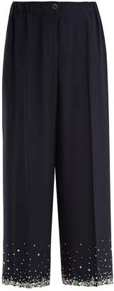 Miu Miu Cropped crystal-embellished silk trousers