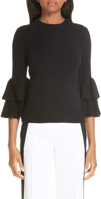 Michael Kors Tiered Ruffle Sleeve Ribbed Sweater