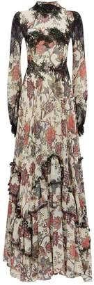 Costarellos Lace Trim Chiffon Gown