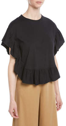 See by Chloe Ruffled Short-Sleeve Cotton Top