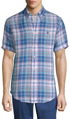 Brooks Brothers Linen Freeport Plaid Sport Shirt