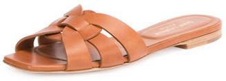 Saint Laurent Woven Leather Sandal Slide $595 thestylecure.com