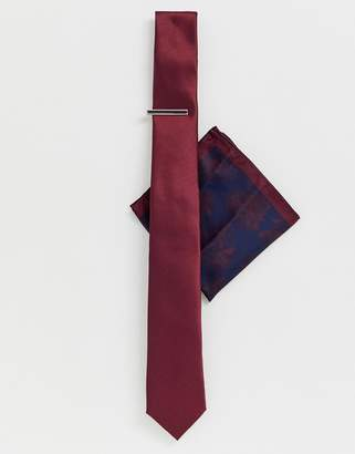 700310fe6c Moss Bros tie bar   pocket square set in burgundy
