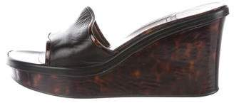 Stuart Weitzman Leather Slide Wedges