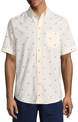 ST. JOHN'S BAY Short Sleeve Checked Button-Front Shirt-Slim