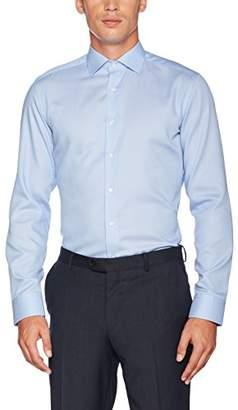 Eterna Men's Slim Fit Langarm Mittelblau strukturiert mit Classic Kent-Kragen Formal Shirt, Blau 12