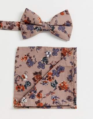 edfef3e36c01 Asos Design DESIGN brown floral bow tie & pocket square