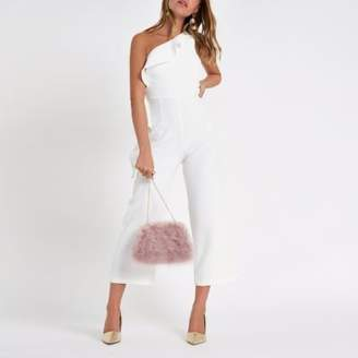 River Island Petite white frill one shoulder jumpsuit